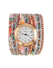 Fashion Coffee Flower Pattern Decorated Multi-layer Design Pu Ladies Watches