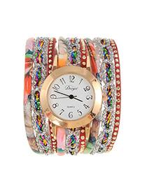 Fashion Coffee Flower Pattern Decorated Multi-layer Design Pu Ladies Watches