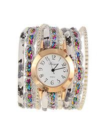 Fashion White Flower Pattern Decorated Multi-layer Design Pu Ladies Watches