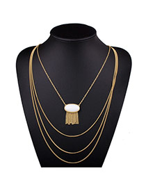 Exaggerated White Oval Gemstone Decorated Multilayer Design Alloy Bib Necklaces