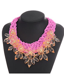 Exaggerate Pink Flower Decorated Hand-woven Collar Design