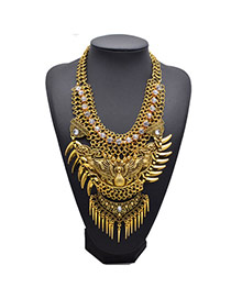 Exaggerated Gold Color Carve Patterns Decorated Collar Shape Design Alloy Fashion Necklaces