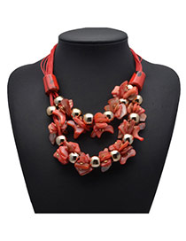 Exquisite Red Shell Decorated Double Layer Design Alloy Bib Necklaces