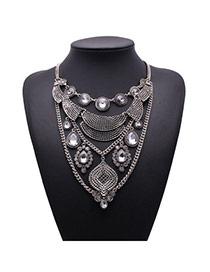 Exaggerate Silver Color Diamond Decorated Geometric Shape Design Alloy Fashion Necklaces