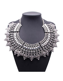 Exaggerate Silver Color Diamond Decorated Hollow Out Design Alloy Bib Necklaces