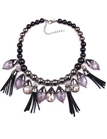 Exaggerate Black Gemstone Decorated Tassel Design  Alloy Fashion Necklaces