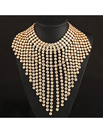 Exaggerate Gold Color Multilayer Beads Weave Tassel Design