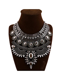 Elegant Black Gemstone Decorated Multilayer Design Alloy Bib Necklaces