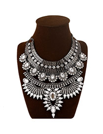 Elegant White Gemstone Decorated Multilayer Design