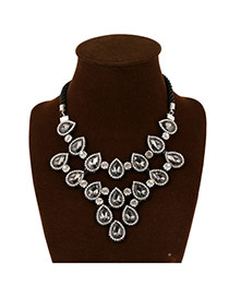 Elegant Black Waterdrop Shape Diamond Deocrated Double Layer Design Alloy Bib Necklaces