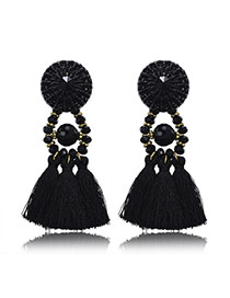 Retro Black Beads Decorated Tassel Design Crystal Stud Earrings