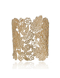 Retro Gold Color Flower Pattern Decorated Hollow Out Opening Design Alloy Fashion Bangles