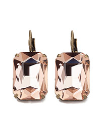 Personality Pink Square Diamond Decorated Simple Design Crstal Korean Earrings
