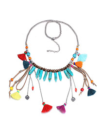 Personality Multicolor Bullet Shape Decorated Tassel Design Turquoise Bib Necklaces
