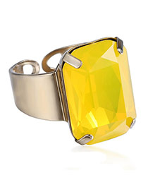 Exaggerated Yellow Square Diamond Decorated Opening Design Alloy Korean Rings