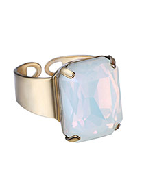 Personality White Square Diamond Decorated Opening Design Alloy Korean Rings