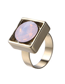 Exaggerated Pink Round Diamond Decorated Square Shape Design Alloy Korean Rings