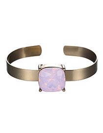 Exaggerated Pink Square Diamond Decorated Opening Design Alloy Fashion Bangles