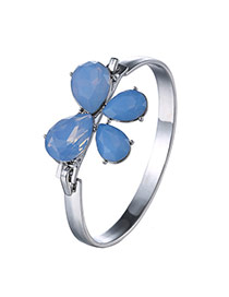 Elegant Blue Bowknot Decorated Simple Design  Alloy Fashion Bangles