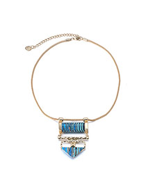 Personality Multicolor Stripe Pattern Decorated Geometry Pendant Design Alloy Bib Necklaces