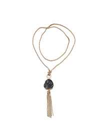 Personality Black Tassel Decorated Simple Design Alloy Bib Necklaces
