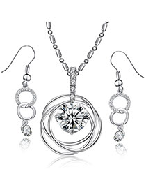 Personality Silver Color Diamond Decorated Circle Shape Design Alloy Jewelry Sets
