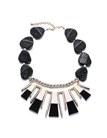 Fashion White+black Geomestric Decorated Weaving Design Acrylic Bib Necklaces