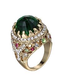 Fashion Green Diamond Decorated Simple Design(small) Crystal Korean Rings