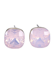 Fashion Pink Square Diamond Decorated Candy Color Design Crystal Stud Earrings