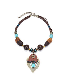 Vintage Coffee Leaf Pendant & Beads Decorated Multilayer Design Turquoise Bib Necklaces