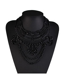Exaggerate Black Metal Chain Weaving Collar Design Alloy Bib Necklaces