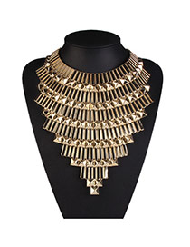 Exaggerate Gold Color Geometric Decorated Multi-layer Design Alloy Bib Necklaces