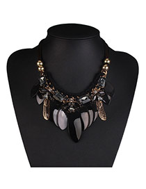 Fashion White+black Leaf Pendant Decorated Simple Design Resin Bib Necklaces