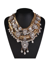 Fashion Gold Color Flower Decorated Multi-layer Design Alloy Bib Necklaces