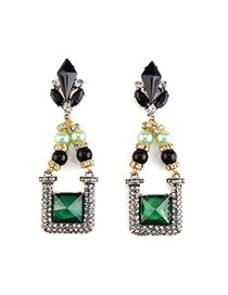 Vintage Green Geometric Diamond Decorated Simple Design Alloy Stud Earrings