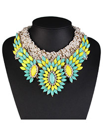 Fashion Multi-color Flower&bead Decorated Weaving Design Alloy Bib Necklaces