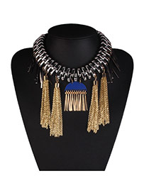 Fashion Blue Tassel Pendant Decorated Short Chain Design Alloy Bib Necklaces