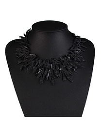 Exaggerate Black Geometric Shape Weaving Decorated Collar Design