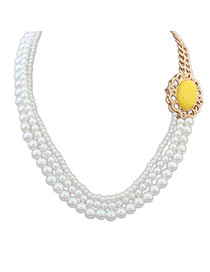 Fashion Yellow Pearl Decorated Multilayer Design Alloy Korean Necklaces
