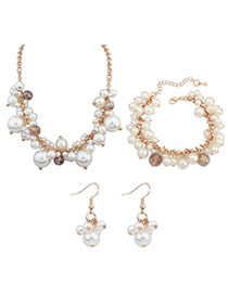 Elegant White Pearl Decorated Simple Design Alloy Jewelry Sets