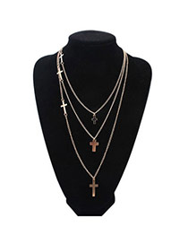 Boutique Gold Color Cross Shape Decorated Multilayer Design Alloy Chains