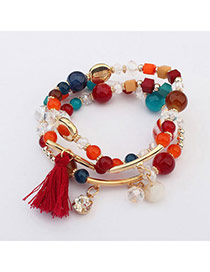 Fashion Multicolor Beads Decorated Multi-element Design  Alloy Korean Fashion Bracelet