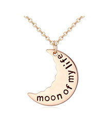 Preferential Gold Color Moon Shape Pendant Decorated Simple Design Alloy Chains