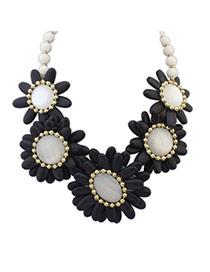 Joker Black Gemstone Decorated Flower Design Turquoise Bib Necklaces
