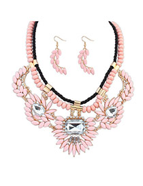 Splendid Pink Gemstone Decorated Leaf Shape Design  Alloy Jewelry Sets