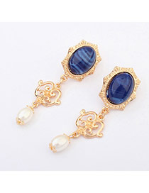 Fashion Gold&dark Blue Pearl Decorated Simple Design Alloy Stud Earrings