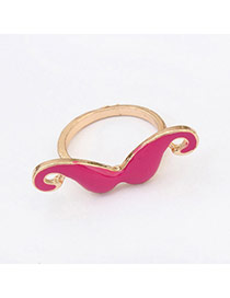 Fashion Plum Red Mustache Shape Decorated Simple Design Alloy Korean Rings