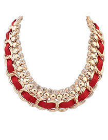 Fashion Red Chain Decorated Weave Design