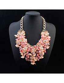 Exquisite Orange Pink Beads Weave Decorated Simple Design Alloy Fashion Necklaces