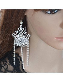 Sweet White Lace Decorated Hollow Out Design  Lace Korean Earrings